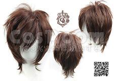 New Fashion Dark Brown Short Straight Cosplay full Wig H119