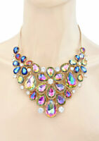 Iridescent Acrylic Vitrail Rhinestones Flower Statement Bib Necklace Drag Queen