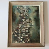 1960'S CHINESE PAINTING TAIWAN? EXPRESSIONISM BOATS SKY VIEW MODERNISM RARE VNTG