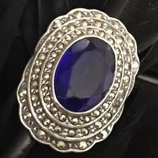 Blue Paste Marcasite Ring Sz 6.25 Nice Authentic Art Deco Estate Sterling Silver