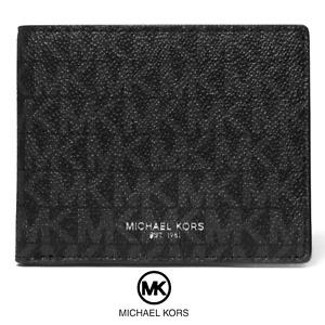 NWT Michael Kors Jet Set Warren MK Logo Men Black Leather Slim Bifold Wallet