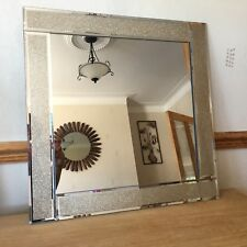 Large champagne Glitter mirror Bevelled square Glitter Frame wall mirror 60x60cm