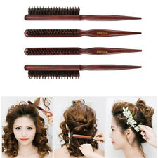 Salon Comb Hair Teasing Brush Wooden Handle Back Comb Natural Boar Bristle Brown