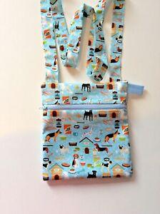 DOG walking  shoulder bag with grommet Handmade all breeds poo dispenser uk