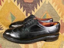 Vtg V-Cleat Black Pebbled Grain Leather Wingtip Shoes Size 11.5 D Made In Usa