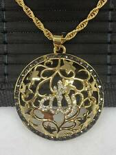 Allah Goldkette Gold Münze inkl.Halskette Kette Strass 24 Karat GP Altin Kaplama