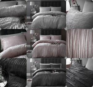 New Modern Crinkle Crushed Velvet Duvet Quilt Cover Set Double King Size Bedding