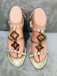 Louis Vuitton 'Capricieuse' off white Gold Leather Wedge Sandals - Size 38