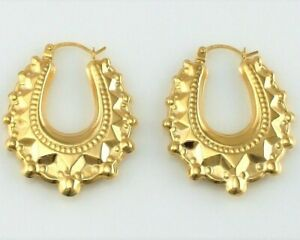 9ct Yellow Gold Victorian Style Spiked Oval Creole Hoop Earrings 1.9 gr