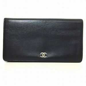 Auth CHANEL Black Leather Long Wallet