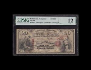 ORIGINAL 1865 $20 FIRST CHARTER BALTIMORE PMG 12 FINE ONLY 2 KNOWN!!