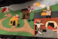 VTG Felt Handmade Story Board- Three Little Pigs- Moveable For Story Telling
