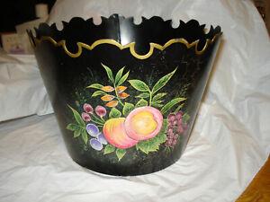 VINTAGE Black,  Floral, fruits  & Gold Trim TOLE Cachepot  hand painted Planter