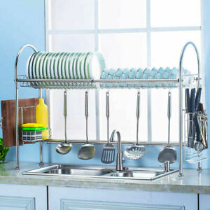 Kitchen Over Sink Dish Drainer Plate Bowl Cup Drying Rack Stainless Steel 2 Tier