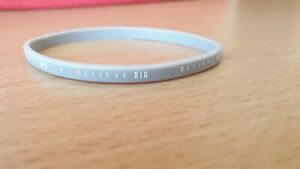 "Grey Thin Silicone Bracelet With Message "" Believe BIG"""