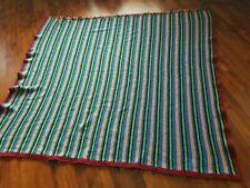 "Striped Handmade Afgan Blanket Throw 67""x 56"" Multicolored"