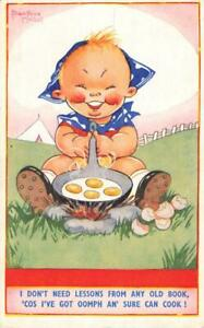 ARTIST BEATRICE MALLETT - CHUBBY CHILD FRYING EGGS 1963 POSTCARD