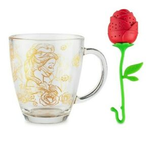 2021 Disney Beauty and the Beast Belle Mug and Rose Tea Infuser New in Box