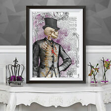 Victoriano Caballero-Gótico cartel impresión-Original Ilustración
