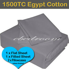 QB-Egypt Cotton Pewter/Grey 1500TC Fitted Flat Pillowcases Sheet Set-RRP $610