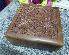 Beautiful Hand Carved Square Trinket Box Indain Sheesham Wood (CC-7640)