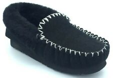 Genuine AUSTRALIAN SHEEPSKIN Moccasins Slippers BLACK 4-13 Ugg Moccasin Mocassin