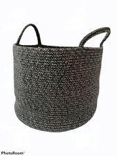 H&M Home Cotton Grey Rope Storage Basket With Handles Nursery 28cm x 35cm