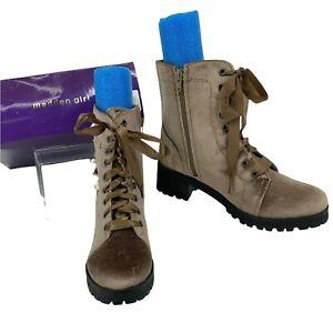 Madden Girl Elsahh Boots Women's Size 9 Mushroom Velvet Faux Leather Combat New