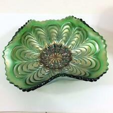 """Carnival Glass Antique Fenton Peacock Tail Green Tricorner Bowl Plate 6"""""""