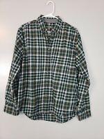 Eddie Bauer Men's Button Down Shirt Size Large Green Plaid Flannel Long Sleeve