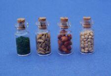 Miniature Dollhouse Set Of 4 Spice Seeds Jars 1:12 Scale New