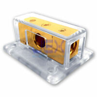 2-Way Car Audio Solar Amp Power/Ground Cable Splitter Distribution Block 1/0ga