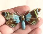 Art Deco Sterling Silver Enamel Butterfly Brooch , Birmingham 1944  ,9.8 Grams