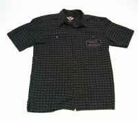 Mens Harley Davidson Button Front Shirt Medium Short Sleeve Black Gray