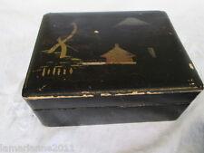 BOX BOITE A BIJOUX  EN BOIS LAQUE NOIR SUZURIBAKO DECOR A RESTAURER JAPAN BOX