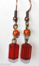 red and orange bead  EARRINGS Jewellery