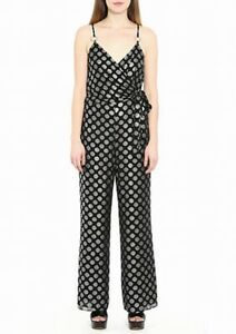 Michael Kors Womens Jumpsuit Black US Size Small S Printed Side-Tie $155 032