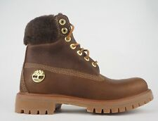 Mens Timberland 6 Inch Premium Sherling Collar A1U5Q Dark Brown Leather Boots