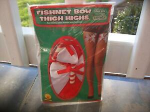 RUBIES 8534 RED FISHNET BOW CANDY CANE ACCENT THIGH HIGH CHRISTMAS STOCKINGS