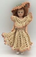 Vintage 1950s Plastic Doll Lady Hampshire with Crochet Dress Hat Red Hair 8""