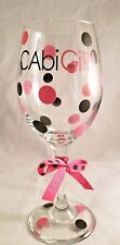 Decorated Wine Glass CabiGirl Over-sized  Black & Pink Dots and Matching Ribbon