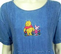The Disney Store Pooh Piglet Womens XL Dress Blue Cotton Chambray Modest Teacher