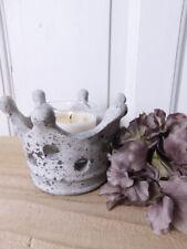 Vintage Brocante Krone Schale Teelichthalter Topf Chic Antique Shabby