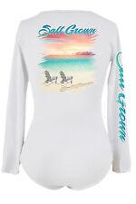 Salt Grown Women's long sleeve V neck microfiber life Saltwater  t shirt beach