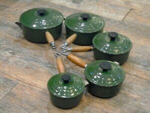 Le Creuset Cast Iron 5 Saucepan Set Green 14, 16, 18, 20 and 22