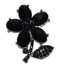 New black silver flower Rhinestone Crystal Pin Brooch wedding party #16