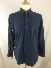 Rock And Republic Long Sleeve Button Front Shirt Mens Size L Blue