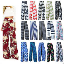 Women Tie Dye Floral Printed Multi Colour Ladies Wide Leg Palazzo Trousers Pants