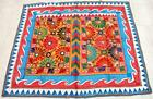 """72"""" x 58"""" Vintage Rabari Throw Embroidery Ethnic Tapestry Tribal Wall Hanging"""