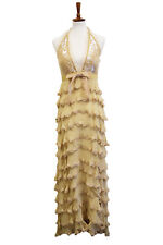 Jovani Gold Sequin Halter Layered Prom Evening Dress Gown Women's Size 10
